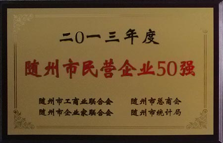 2013年度随州市民营企业50强